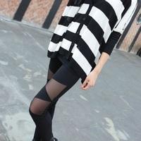 nz087-1 wholesale 6 pcs Summer new knee South Korea triangle mesh yarn splicing thin models show thin black ninth pants tights