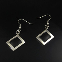 Free Shipping 925 Sterling Silver Plated Black Square Drop Earrings Women Earrings Nickel Free Antiallergic Wholesale FSE141
