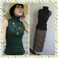 2013 summer solid color vest dark green sleeveless turtleneck short-sleeve T-shirt women's basic shirt plus size available