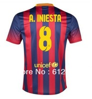 #8 Andres Iniesta  F.C. Barca Home Shirts 2013/14 ,Thai Quality .official type,Fan Version,Embroidery Logo