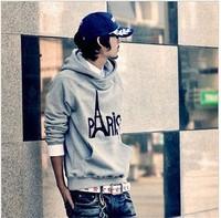 Free shipping 2014 new fashion Autumn & winter men's hooded coat sweatshirt Eiffel Tower warm comfortable casual sweater M-XXL