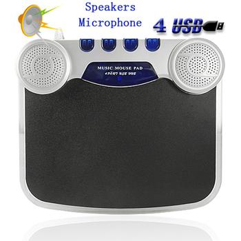 blue LED lights compuer PC CD MP3 mini 4 port usb hub with Mousepad Speaker MIC Audio output