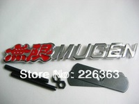 Free shipping red MUGEN 3D Metal Front Hood Grille Badge Grill Emblem Auto Stickers Car LOGO G37