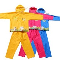 free shipping Big brim hat child set raincoat pants split poncho teenage children's clothing cartoon