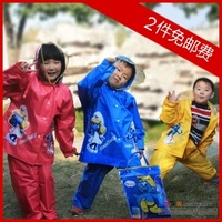 Child split set raincoat plus size Visual thickening hat brim primary school students cartoon top poncho rain pants