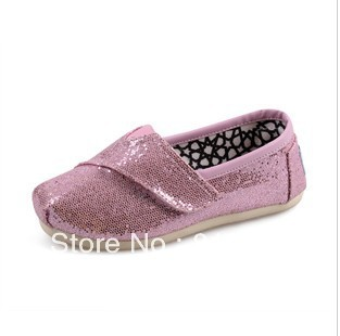 2013 Hot new sequined shoes girls canvas shoes magic button