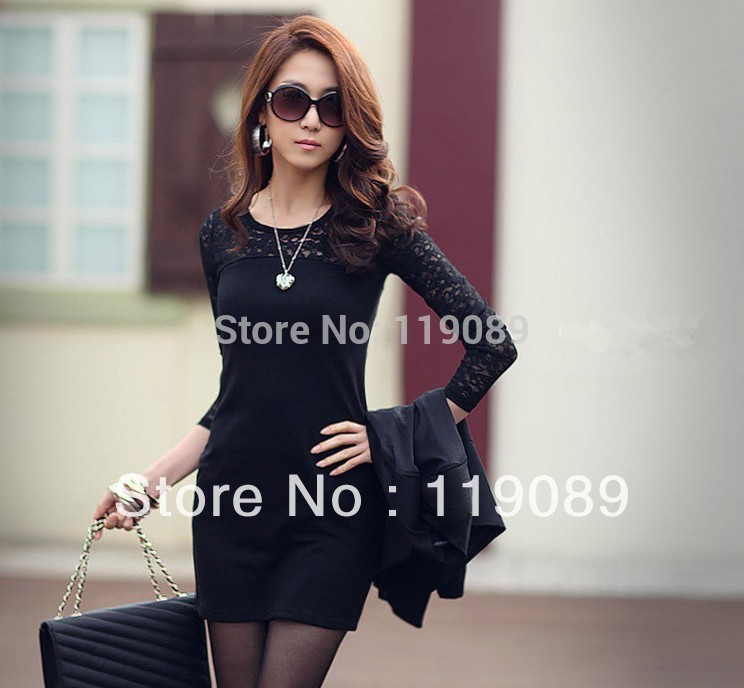 2014 Women Ladies Sexy Cotton Casual Lace Dress S M L XL Spring and Autumn Vestidos Print Party Dresses Bodycon Free Shipping(China (Mainland))
