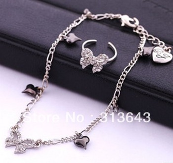 fashion bow Ankle Bracelet and Ring Set Free shipping #L0013