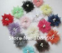 Free Shipping!24pcs/lot 2.5'' Mini Tulle Mesh Flowers With Rhinestone Pearl ,Dress Flower,Flower Headban,15colors can choose