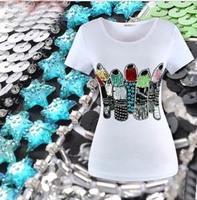 Korean Style Fashion Print Lipstick Brand Tshirt Design Women Paillette Rhinestone T Shirts For Women White Shirt Women