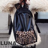 2012 female leopard print rivet backpack vintage preppy style student school bag fashion  bag