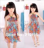 2013 summer new children's skirt bohemian skirt lace dress girls Dress  sling section