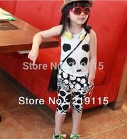 Summer fashion cartoon child models black and white suit pants suit children cotton vest two-piece suit vest + Shorts