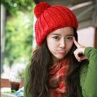 All-match casual knitted hat twist cap lobbing cap knitted hat female hair ball