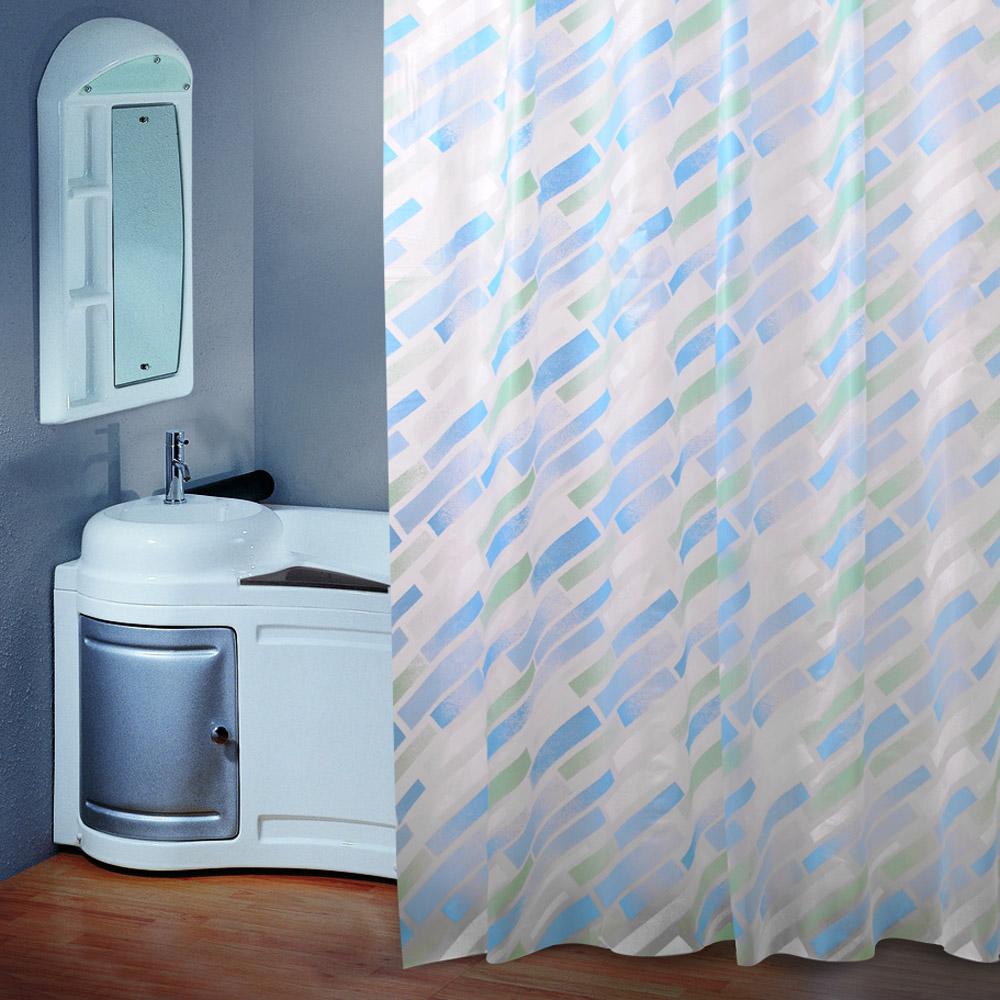 waterproof blue oblique stripe shower curtain peva bathroom window
