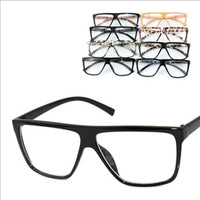 Oversized vintage personality the trend of the box wood grain glasses plain glass spectacles