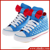 Sweet lady's high cup canvas shoe for woman's lovely bowknot dots casual shoe,women cross straps lace-Up shoes S186