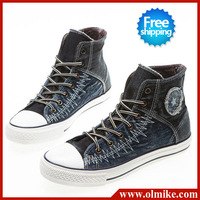Wholesale high cup casual canvas Sneaker for woman's mixed colors cross straps big size (39-43) waterproof Shoes S187
