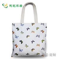 100% cotton canvas bag women's one shoulder portable eco-friendly printed cloth simple elegant butterfly flower
