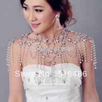 New arrival luxury crystal bride wedding long chain rhinestone tassel design necklace  shoulder jewelry