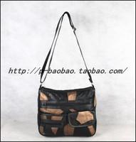 Fashion vintage patchwork genuine leather sheepskin bag women's one shoulder cross-body women's document genuine leather handbag