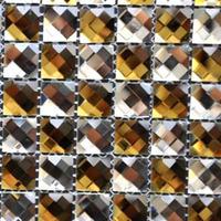 [Mius Art Mosaic] Beveling Edge brown & White Color 13 faced diamond  mirror Glass Mosaic Tile for Backsplash
