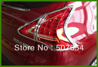Free shipping! High quality ABS with Chrome 4pcs taillight cover/rear lamp cover for Peugeot 3008