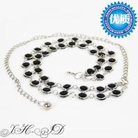 Women's belt crystal double glass decoration fashion diamond belly chain strap