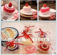 Free shipping originality small Cake towel gift baby birthday loverday Christmas gift hand towel 20x20cmX2pcs 50g 10pcs/lot