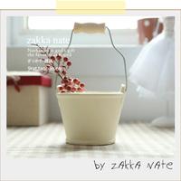 Zakka bucket flower pot fleshier plant flower handle belt wooden handle milky