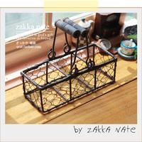 Zakka vintage retro finishing iron basket classification of storage basket double handle props