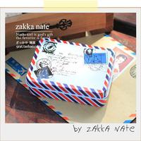 Zakka multi purpose magnetic card storage box envelope stamp postmarked pattern bandaotiehe tin storage box