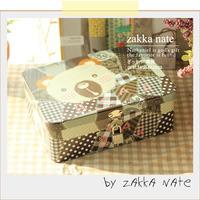 Zakka storage box iron leather box with lock gift jewelry packaging box bear storage box