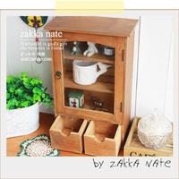 Zakka vintage glass door retro finishing cabinet wooden box storage cabinet drawer desktop storage