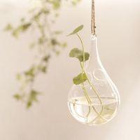 Glass decoration hydroponic plants container flower hemp rope vase zakka