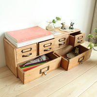 Zakka vintage retro wool finishing storage cabinet desktop sundries box