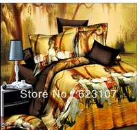 wholesale! The New 2013 bedding set 4pcs,3D Oil Reactive  printing,King size 200*230 Queen Size 180*200cm.