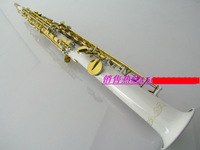 Wholesale sales Professional soprano Saxophone white gold-bonded straight surface