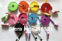 20pcs/lot  Multicolour Noodles 1M  Data Line  Cable for Samsung HTC cheap price  free ship