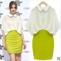 Spring  summer doll collar bat sleeve chiffon women's dress fake two Clothing Free Shipping!