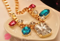 C2422 fashion Magazine style  colorful shining big gem boutique necklace  party jewelry  free shipping for MIX MIN. ORDER $10