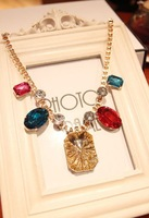 C2422 fashion colorful shining big gem boutique necklace Champagne party jewelry  free shipping for MIX MIN. ORDER $10