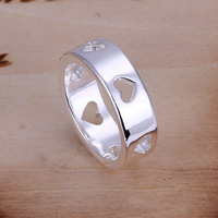 R110 Size:6,7,8,9,10 Wholesale 925 silver ring, 925 silver fashion jewelry, Hollow Multi Hearts Ring /anbajeiarv
