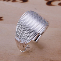 R018 Size:opened Wholesale 925 silver ring, 925 silver fashion jewelry, Line Ring-Opened /akmajbtart