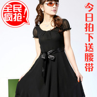 2013 plus size silk one-piece dress summer women's short-sleeve skirt summer