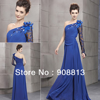 Free Shipping A-line One Long Shouder Appliques Beaded Blue Design Prom Dresses 30068