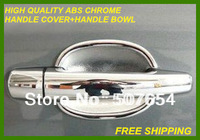 Free shipping! High quality ABS chrome Peugeot 3008 2012  4pcs DOOR HANDLE COVER+4pcs HANDLE BOWL