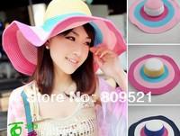 Hot Fashion Women's Foldable Wide Large Brim Floppy Summer Beach Sun Straw Hat Cap Free Shipping