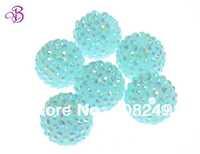 100pcs aquamarine chunky round shape resin rhinestone ball beads.Free shipping jewelry round resin ball beads.