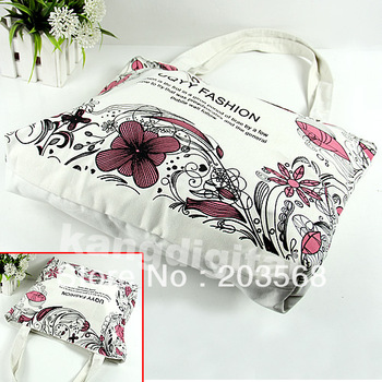 Womens Beautiful Canvas Eco Bag Flower Print Red Shoulder Tote Travel Handbag